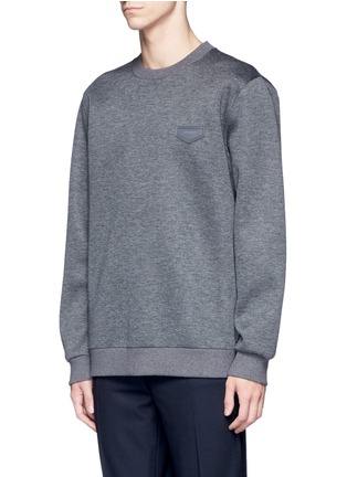 Front View - Click To Enlarge - Givenchy - Leather logo patch marled scuba jersey sweatshirt