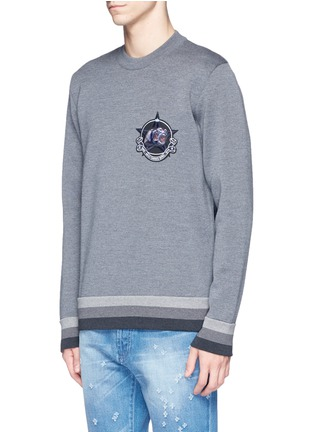 Front View - Click To Enlarge - Givenchy - Monkey patch bonded wool sweater