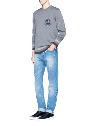 Figure View - Click To Enlarge - Givenchy - Monkey patch bonded wool sweater