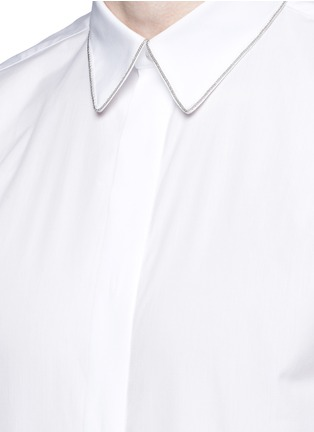 Detail View - Click To Enlarge - GIVENCHY BEAUTY - Chain link collar cotton poplin shirt