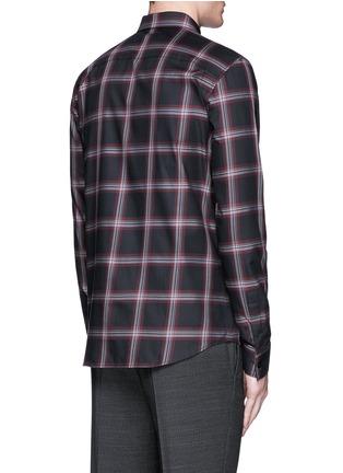 Back View - Click To Enlarge - Givenchy - Pocket strap check plaid cotton shirt