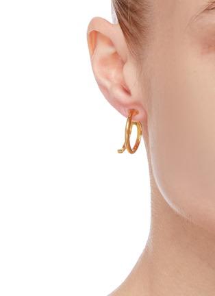 Figure View - Click To Enlarge - W. BRITT - 'J' 18K Gold Earrings