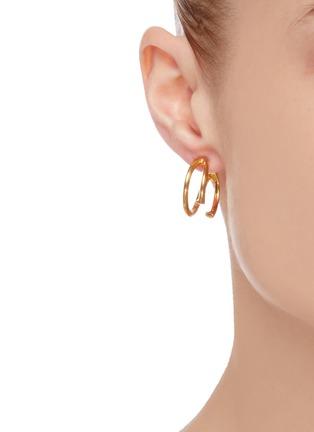 Figure View - Click To Enlarge - W. BRITT - 'C' 18K Gold Earrings