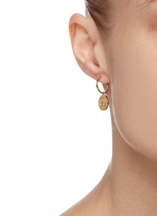 Figure View - Click To Enlarge - MEADOWLARK - 'Amulet Peace' green sapphire gold plated earrings