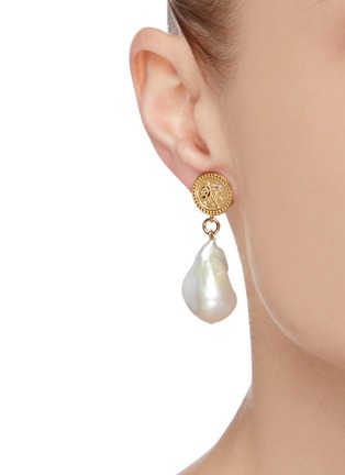 Figure View - Click To Enlarge - MEADOWLARK - 'Amulet' sapphire gold-plated pearl drop earrings