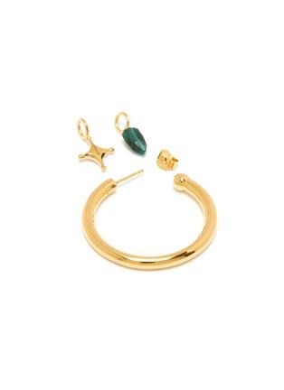 Detail View - Click To Enlarge - W. BRITT - Malachite charm single hoop earring