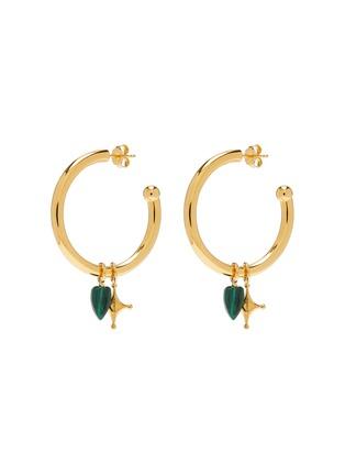Main View - Click To Enlarge - W. BRITT - Malachite charm single hoop earring