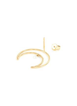 Detail View - Click To Enlarge - PERSÉE PARIS - 'Croissant' diamond yellow gold mini earring