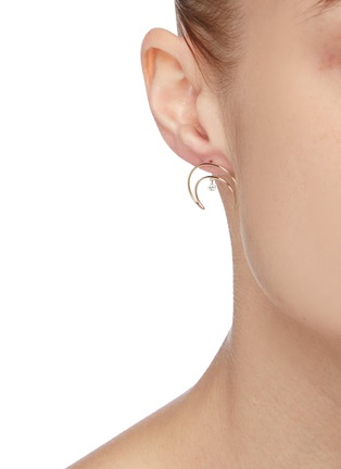 Figure View - Click To Enlarge - PERSÉE PARIS - 'Croissant' diamond yellow gold mini earring