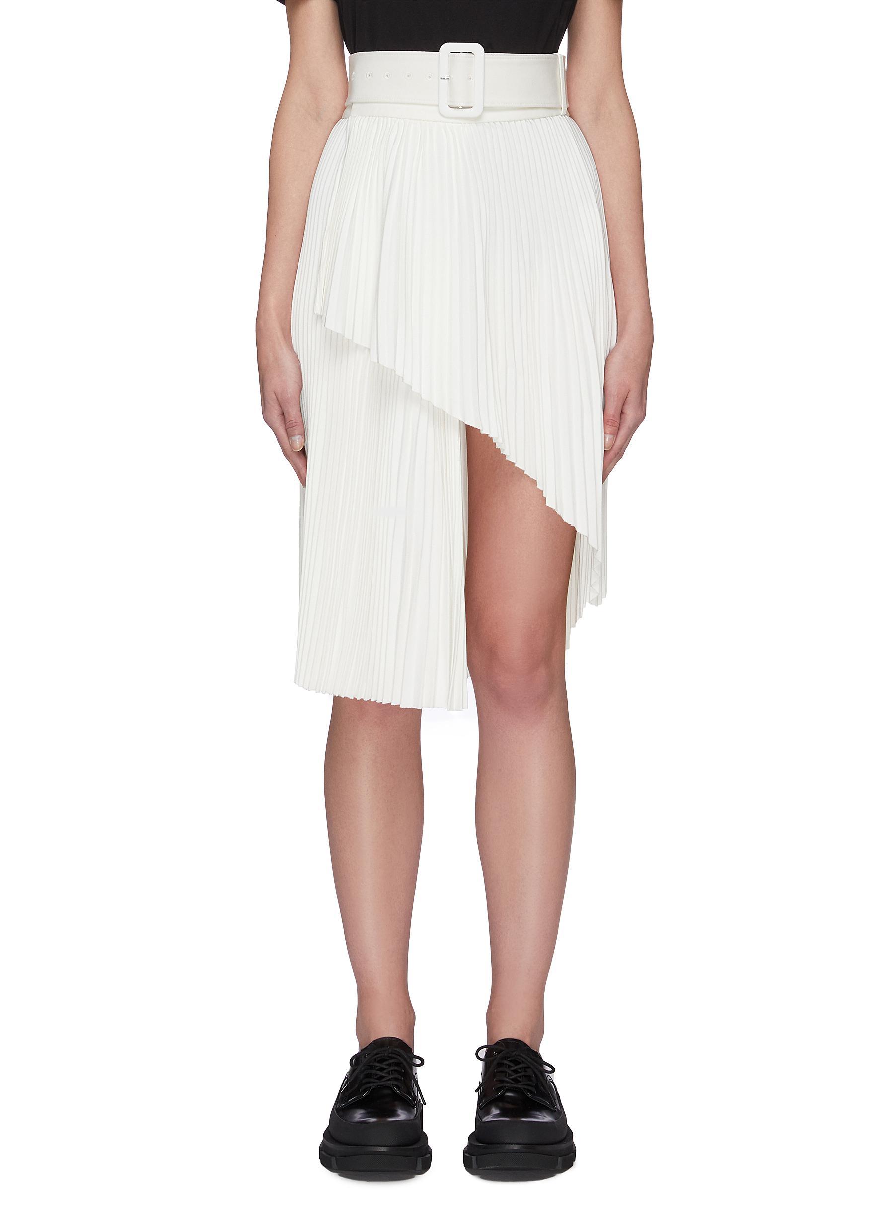 shop Shushu/Tong Pleated Split Hem Skirt online