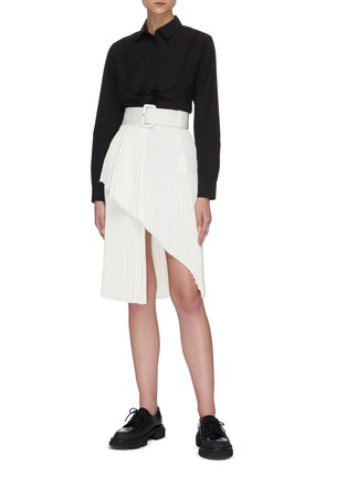 Figure View - Click To Enlarge - SHUSHU/TONG - Pleated Split Hem Skirt