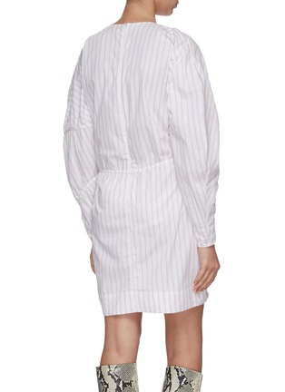 Back View - Click To Enlarge - GANNI - Stripe panelled long puff sleeve cotton mini dress