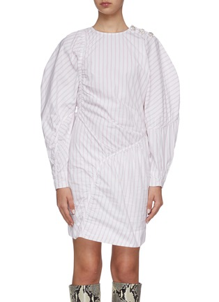 Main View - Click To Enlarge - GANNI - Stripe panelled long puff sleeve cotton mini dress