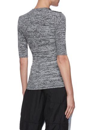 Back View - Click To Enlarge - GANNI - Floral button shoulder mélange knit top