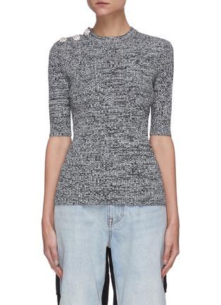 Main View - Click To Enlarge - GANNI - Floral button shoulder mélange knit top