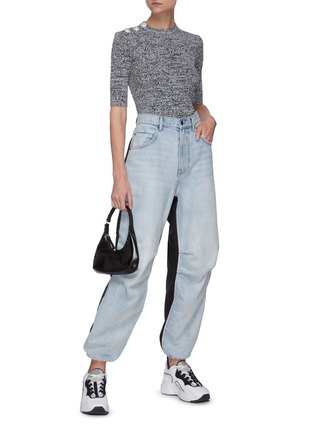 Figure View - Click To Enlarge - GANNI - Floral button shoulder mélange knit top