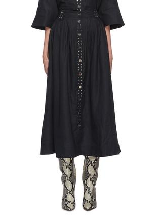 Main View - Click To Enlarge - GANNI - Metallic buckle linen midi skirt