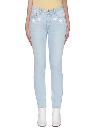 Main View - Click To Enlarge - GRLFRND - 'Karolina' star embroidered pocket light wash skinny jeans