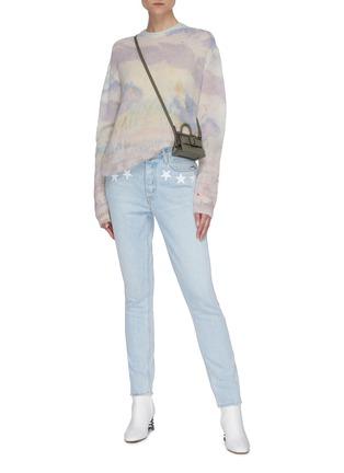 Figure View - Click To Enlarge - GRLFRND - 'Karolina' star embroidered pocket light wash skinny jeans
