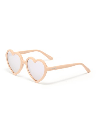 Main View - Click To Enlarge - SONS + DAUGHTERS - 'Lola' heart frame mirror effect kids sunglasses