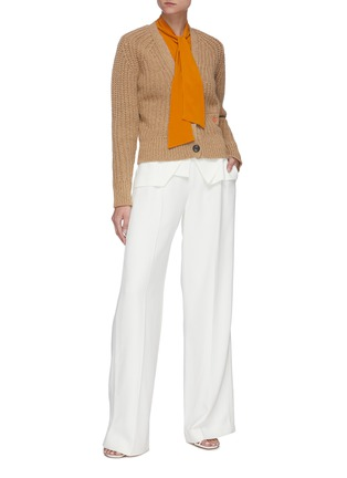 Figure View - Click To Enlarge - VICTORIA BECKHAM - Logo embroidered V-neck crop knit cardigan