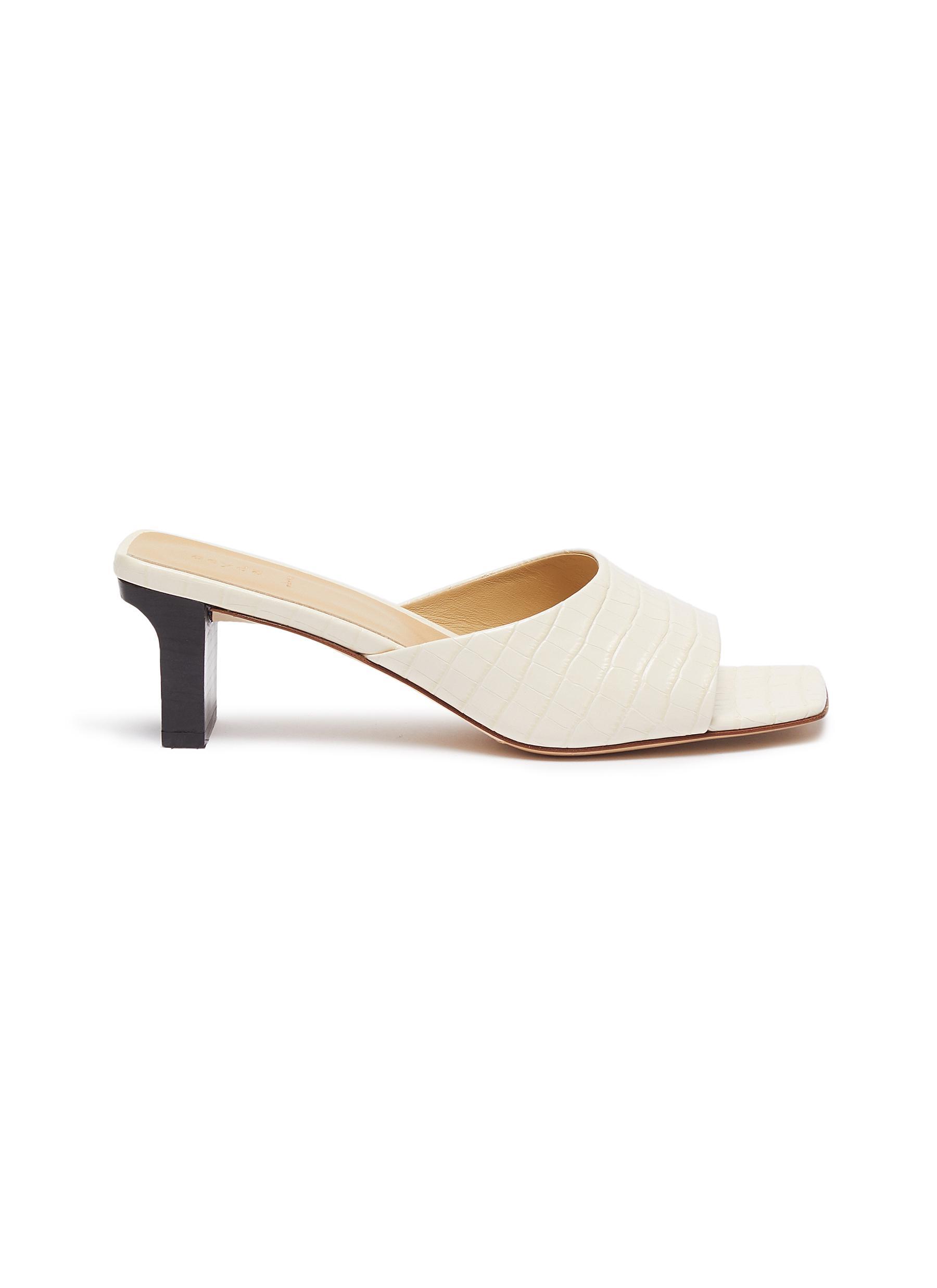 Aeyde 'Katti' single band croc embossed leather sandals