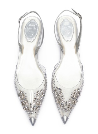 Detail View - Click To Enlarge - RENÉ CAOVILLA - Crystal embellished point toe slingback flats