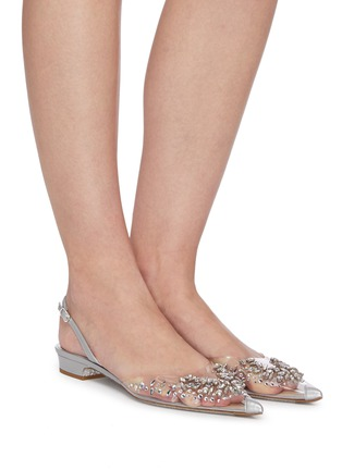Figure View - Click To Enlarge - RENÉ CAOVILLA - Crystal embellished point toe slingback flats