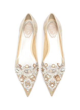 Detail View - Click To Enlarge - RENÉ CAOVILLA - Veneziana' rose water opal and gold crystals embellished lace flats