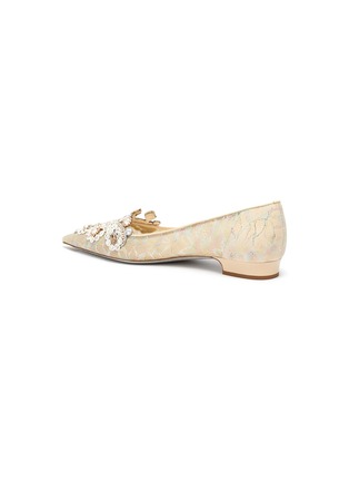 - RENÉ CAOVILLA - Veneziana' rose water opal and gold crystals embellished lace flats