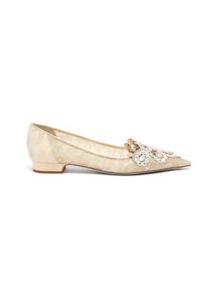 Main View - Click To Enlarge - RENÉ CAOVILLA - Veneziana' rose water opal and gold crystals embellished lace flats