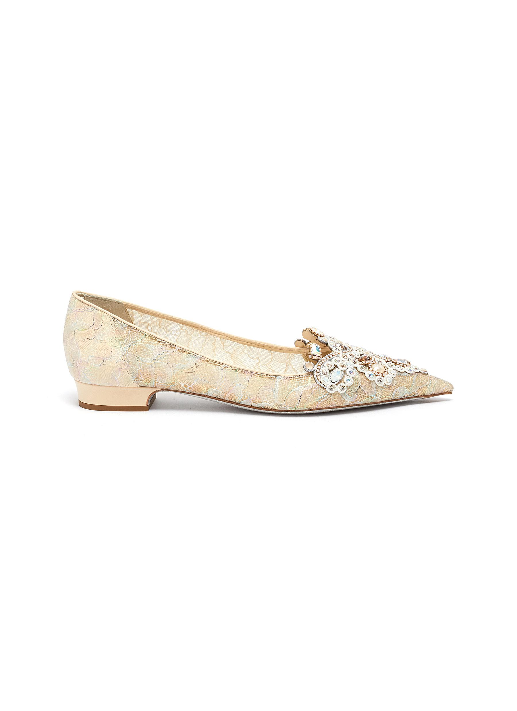 René Caovilla Flats Veneziana rose water opal and gold crystals embellished lace flats