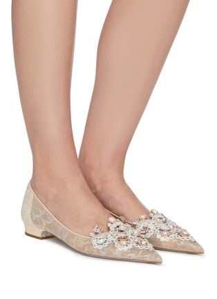 Figure View - Click To Enlarge - RENÉ CAOVILLA - Veneziana' rose water opal and gold crystals embellished lace flats