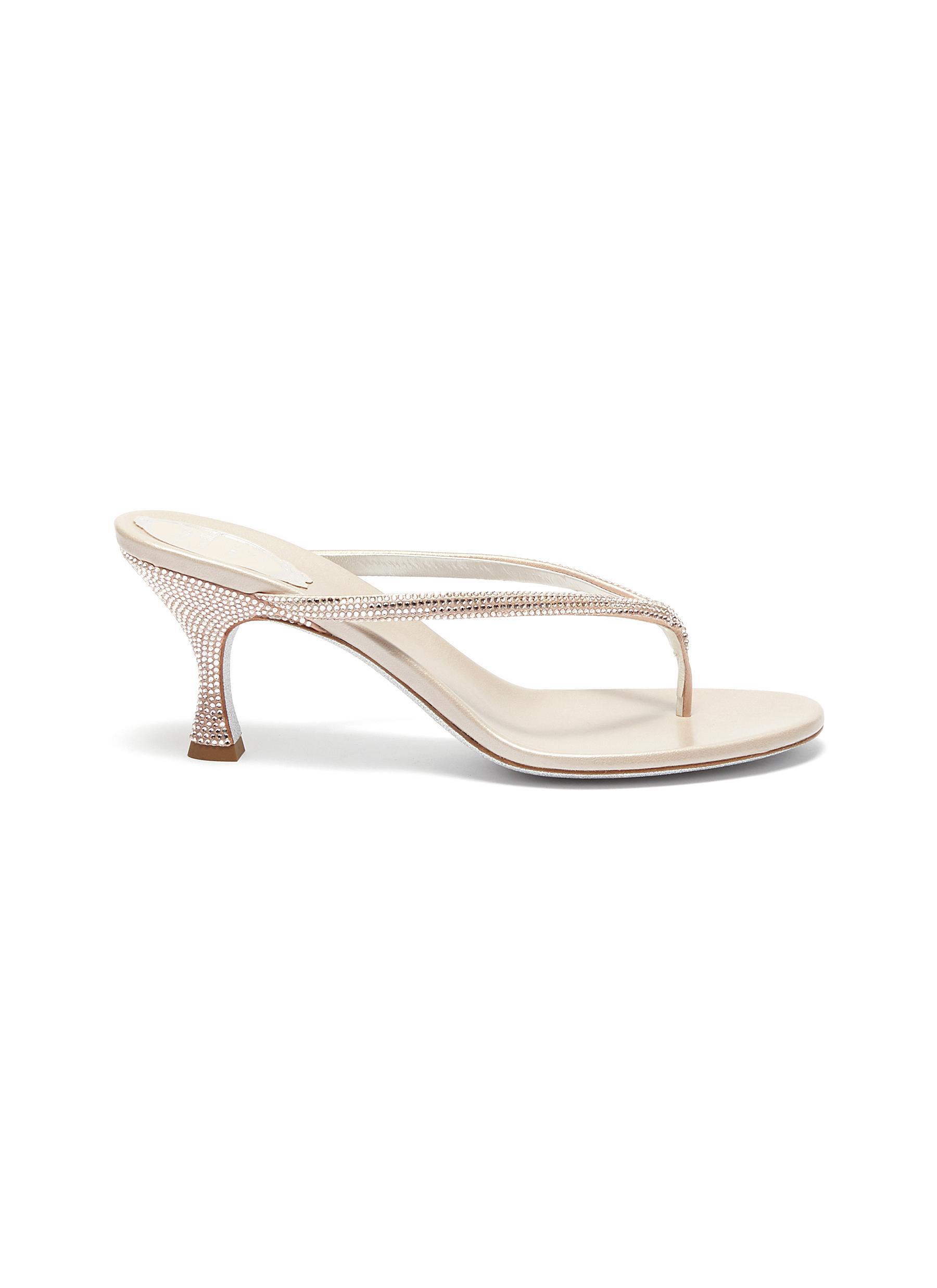 René Caovilla Mid Heels Crystal embellished strap thong sandal