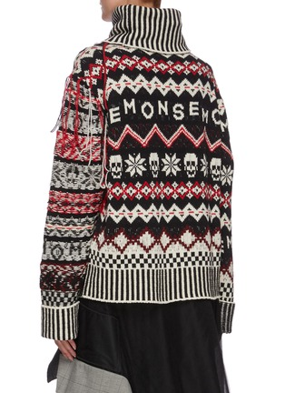 Back View - Click To Enlarge - MONSE - Inside out fairisle turtleneck sweater