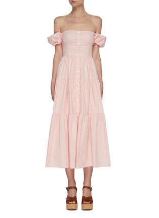 Main View - Click To Enlarge - STAUD - 'Elio' off shoulder puff sleeve dress