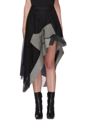 Main View - Click To Enlarge - MONSE - Panel asymmetric tulle skirt