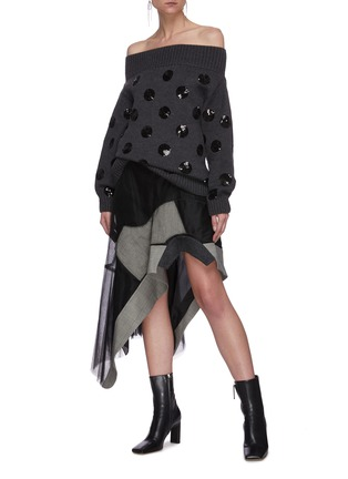 Figure View - Click To Enlarge - MONSE - Panel asymmetric tulle skirt