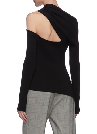 Back View - Click To Enlarge - MONSE - Shoulder cutout pointed waist knit top