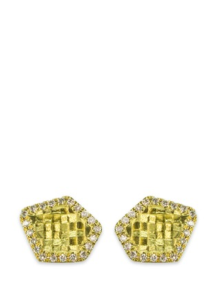 Main View - Click To Enlarge - Jo Hayes Ward - 'Small 5 Sided Stratus' diamond 18k yellow gold stud earrings