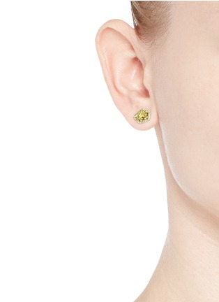 Figure View - Click To Enlarge - Jo Hayes Ward - 'Small 5 Sided Stratus' diamond 18k yellow gold stud earrings