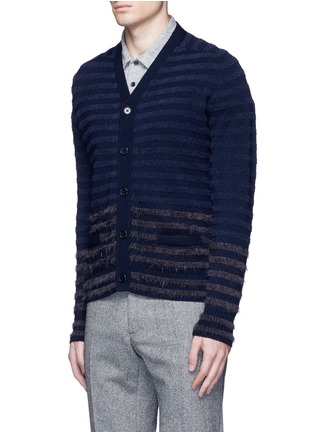 Front View - Click To Enlarge - Altea - Bouclé stripe wool cardigan