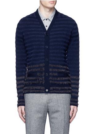 Main View - Click To Enlarge - Altea - Bouclé stripe wool cardigan