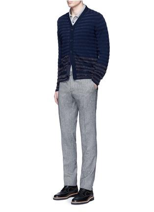Figure View - Click To Enlarge - Altea - Bouclé stripe wool cardigan