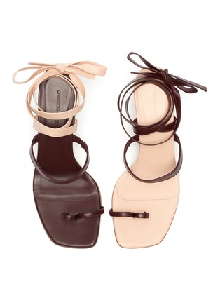 Detail View - Click To Enlarge - CHRISTOPHER ESBER - 'Arta' lace up strappy mismatched leather heeled sandals