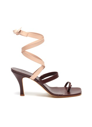 Main View - Click To Enlarge - CHRISTOPHER ESBER - 'Arta' lace up strappy mismatched leather heeled sandals