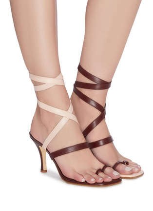 Figure View - Click To Enlarge - CHRISTOPHER ESBER - 'Arta' lace up strappy mismatched leather heeled sandals