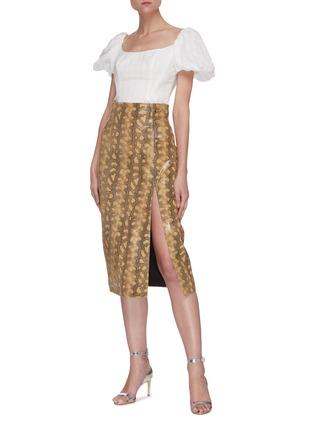 Figure View - Click To Enlarge - 16ARLINGTON - Fonda snake print Nappa leather midaxi skirt