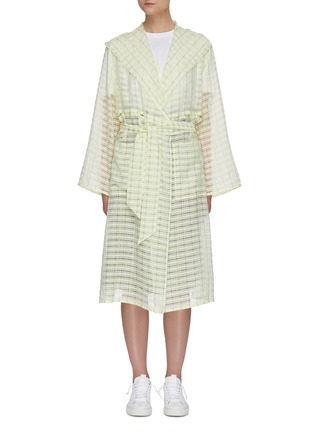 Main View - Click To Enlarge - PORTSPURE - Semi-sheer textured check trench coat