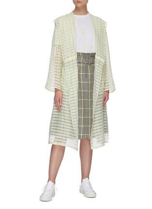 Figure View - Click To Enlarge - PORTSPURE - Semi-sheer textured check trench coat